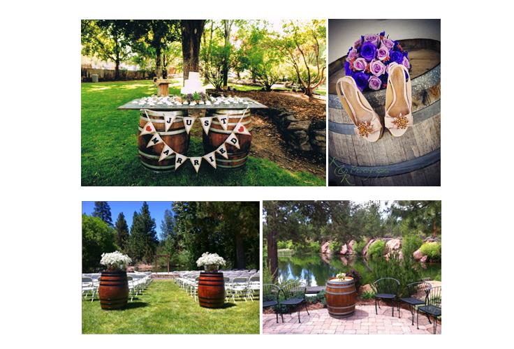 wine barrel stands for rent Bend, Oregon